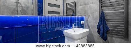 Stylish Bathroom In Blue And Grey