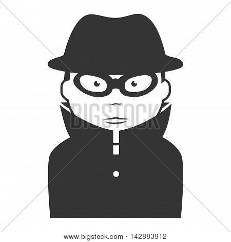 agent man detective coat lens lens mysterious vector  isolated and flat illustration