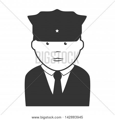 policeman security hat suit tie uniform face cap vector  isolated and flat illustration