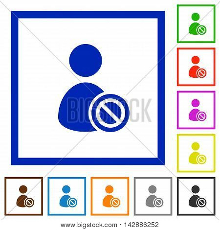 Set of color square framed ban user flat icons