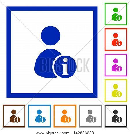 Set of color square framed User account information flat icons