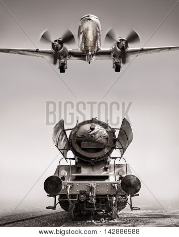 picture of a steam engine and a airplane