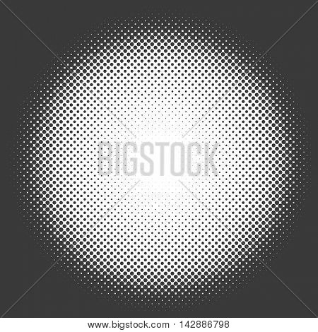 Black and white halftone circle vector template.