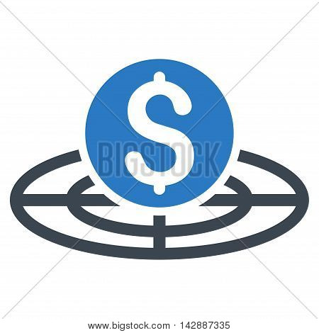 Money Crosshair icon. Vector style is bicolor flat iconic symbol with rounded angles, smooth blue colors, white background.