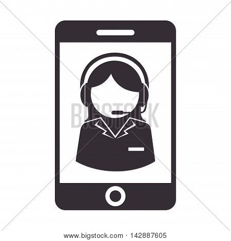 headset smartphone person call operator reception assistant support communication service vector  isolated and flat illustration