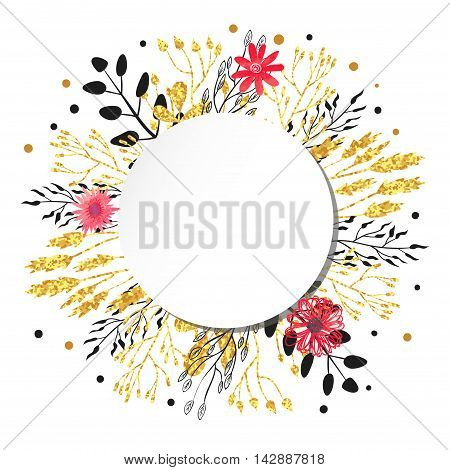 Floral circle background. Vector round illustration with flowers, leaves, branches. Can be used for birthday card, greetings, party invitation.