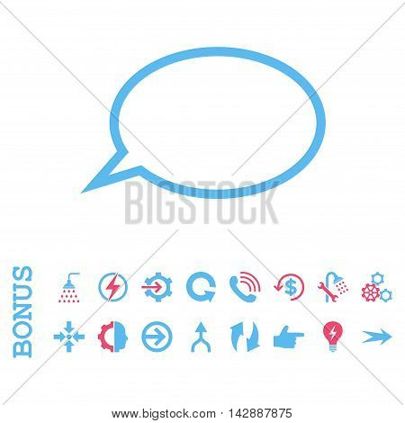 Hint Cloud vector bicolor icon. Image style is a flat pictogram symbol, pink and blue colors, white background.