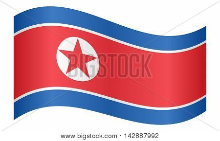 Flag of North Korea Democratic Peoples Republic of Korea waving on white background. North Korean DPRK national flag.
