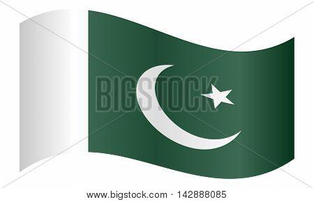 Flag of Pakistan waving on white background. Pakistani national flag.
