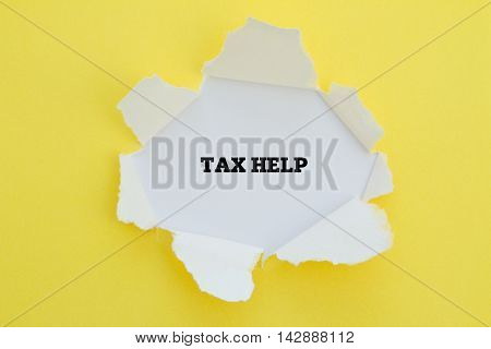 TAX HELP word written under torn paper.