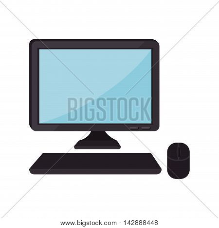 monitor pc computer screen device technology computer mouse keyboard vector isolated  illustration