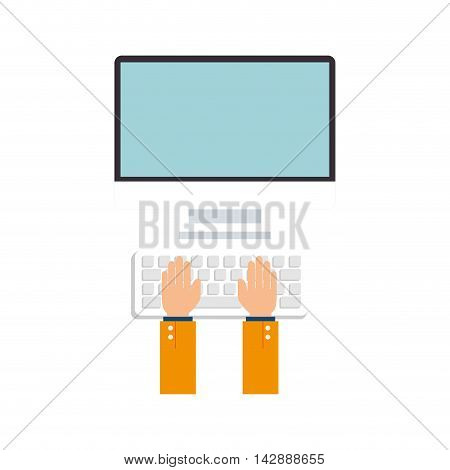 monitor pc computer hads typing screen device technology computer mouse keyboard vector  isolated and flat illustration