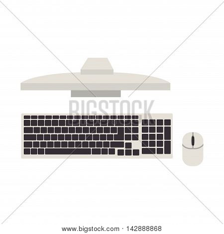 monitor pc top computer screen device technology computer mouse keyboard vector isolated  illustration