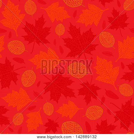 Vector seamless pattern of silhouette of a hand-drawn different autumn leaves. Trace ink drawing of a tree leaf seamless texture in different shades of red. For seasonal holiday design. Botanical.