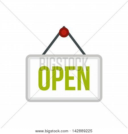 Open sign board icon in flat style isolated on white background