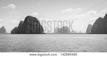 Landscapes of limestone island in Phang Nga Bay National Park Thailand