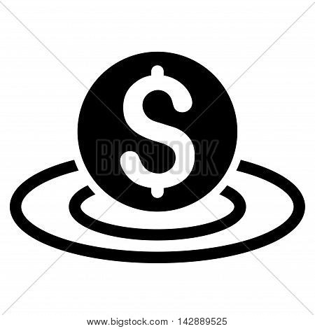 Dollar Coin Area icon. Vector style is flat iconic symbol with rounded angles, black color, white background.