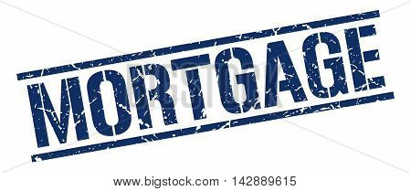 mortgage stamp. blue grunge square isolated sign