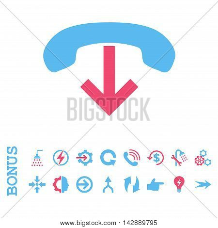 Phone Hang Up vector bicolor icon. Image style is a flat pictogram symbol, pink and blue colors, white background.