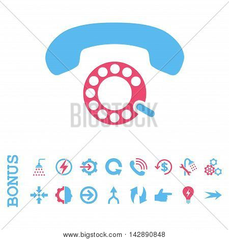 Pulse Dialing vector bicolor icon. Image style is a flat pictogram symbol, pink and blue colors, white background.