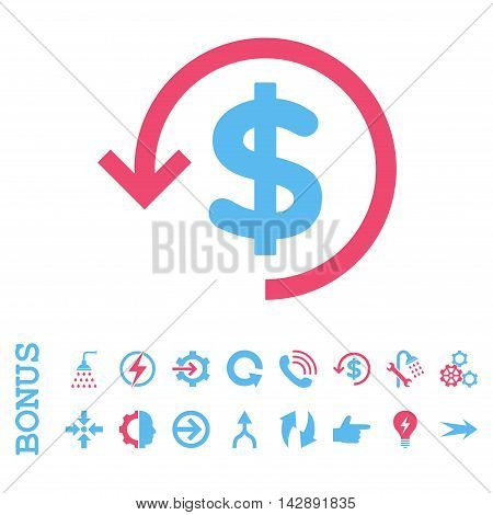 Refund vector bicolor icon. Image style is a flat iconic symbol, pink and blue colors, white background.