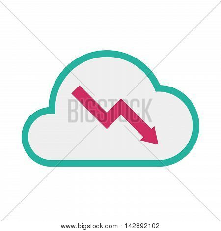 Isolated Line Art   Cloud Icon With A Descending Graph
