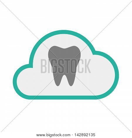 Isolated Line Art   Cloud Icon With A Tooth