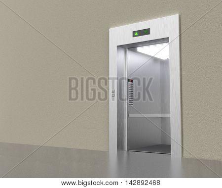 Empty modern elevator with opened doors 3D rendering image.