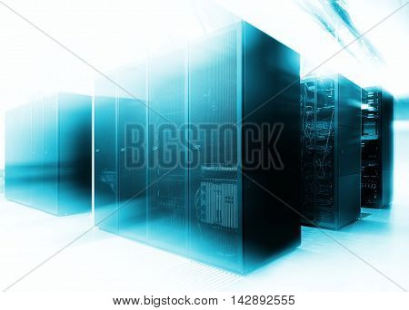 Close up modern interior of server room, Super Computer, Data center with abstract effect.