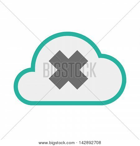 Isolated Line Art   Cloud Icon With An Irritating Substance Sign