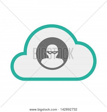 Isolated Line Art   Cloud Icon With A Thief