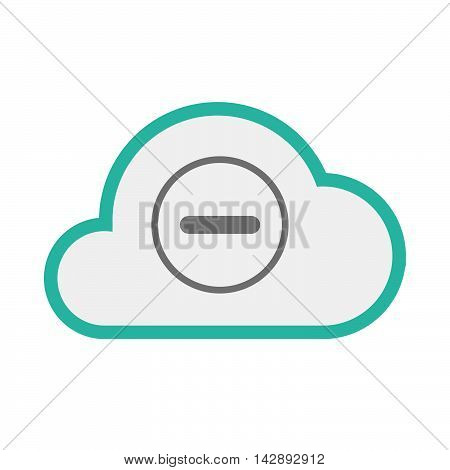 Isolated Line Art   Cloud Icon With A Subtraction Sign