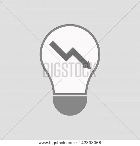 Isolated Line Art Light Bulb Icon With A Descending Graph