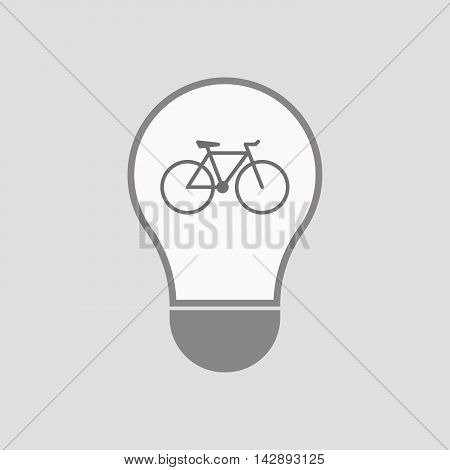 Isolated Line Art Light Bulb Icon With A Bicycle