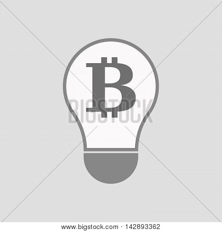 Isolated Line Art Light Bulb Icon With A Bit Coin Sign
