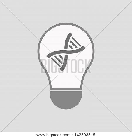 Isolated Line Art Light Bulb Icon With A Dna Sign