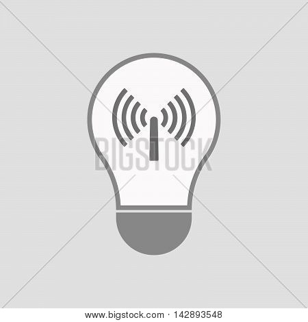 Isolated Line Art Light Bulb Icon With An Antenna