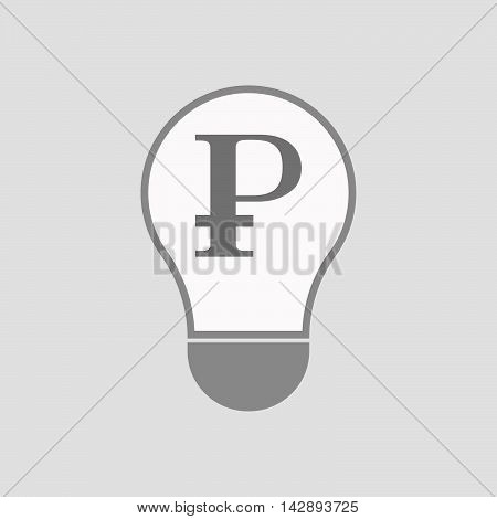 Isolated Line Art Light Bulb Icon With A Ruble Sign