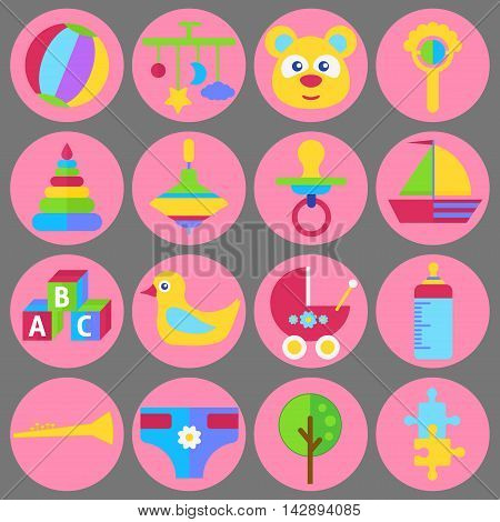 Bay child toys and games and equipment flat vector set
