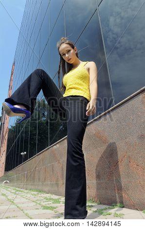 Girl Lifted Her Leg High.