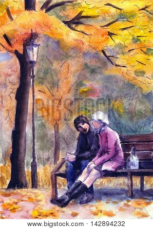 Watercolor landscape with a couple sitting on a bench in autumn park