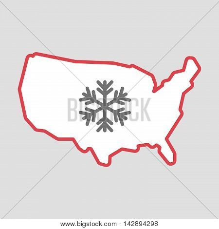 Isolated Line Art  Usa Map Icon With A Snow Flake