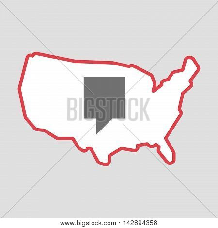 Isolated Line Art  Usa Map Icon With A Tooltip