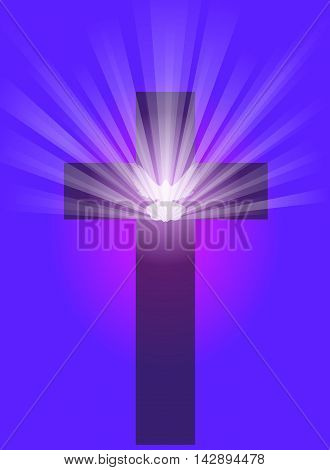 Vector illustration of a cross and a dove with radiant light rays, on a dark purple background.