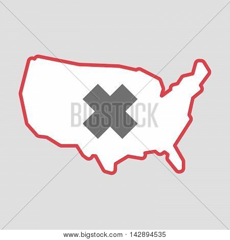 Isolated Line Art  Usa Map Icon With An Irritating Substance Sign