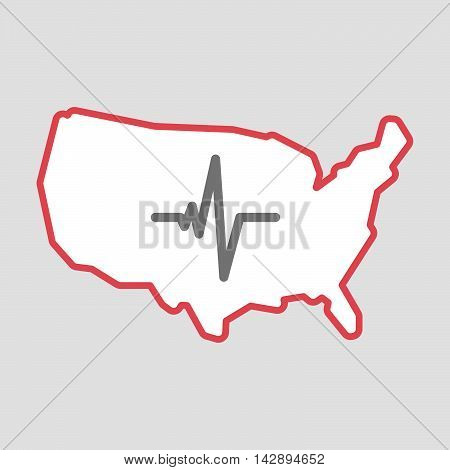 Isolated Line Art  Usa Map Icon With A Heart Beat Sign
