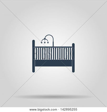 baby cot and carousel Icon. Concept illustration for design.