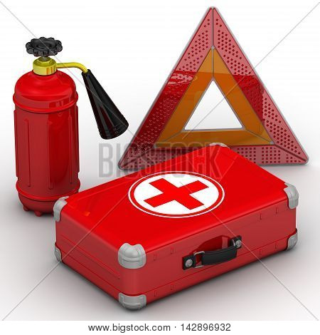 A set motorist consisting of fire extinguisher first aid kit and warning triangle. Isolated. 3D Illustration