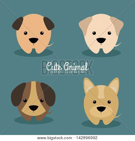 Cute cartoon dogs on a blue background