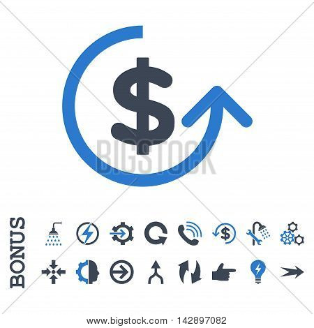 Chargeback vector bicolor icon. Image style is a flat pictogram symbol, smooth blue colors, white background.